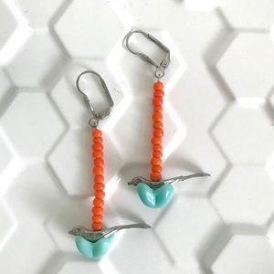 Vintage bird earrings glass orange & aqua beaded